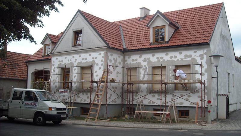 Fassade bei der Renovierung