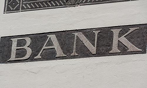 Beschriftung Bank